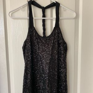 Express sequin twisted T Back top